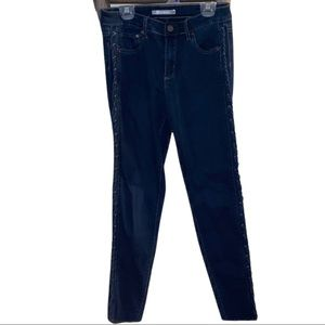 Navy Jeans with Lace Up Sides